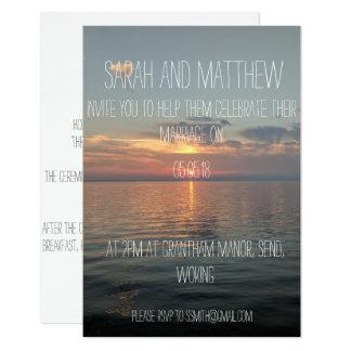 faire-part de mariage simple de coucher du soleil
