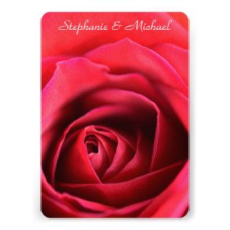 Faire-part de mariage simple de rose rouge