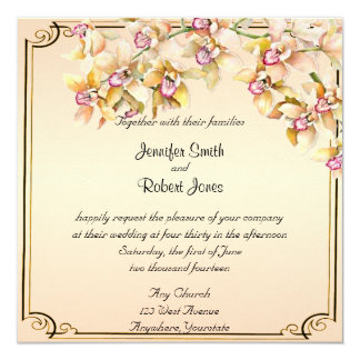 Faire-part de mariage snob d'aquarelle d'orchidée