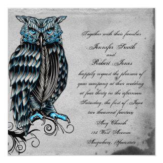 Faire-part de mariage snob de hibou gothique bleu