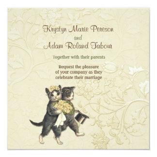 Faire-part de mariage snob d'ivoire de chats