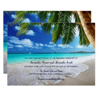 Faire-part de mariage tropical de plage de palmier
