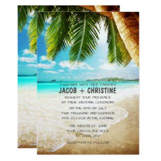 Faire-part de mariage tropical de plage d'île