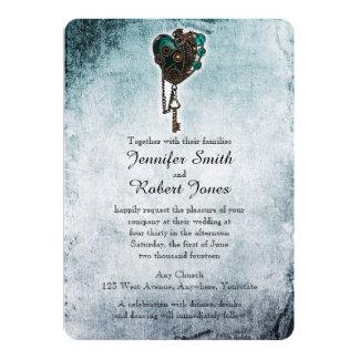 Faire-part de mariage turquoise de coeur de
