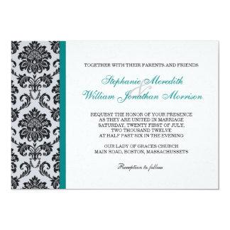 Faire-part de mariage turquoise de monogramme de