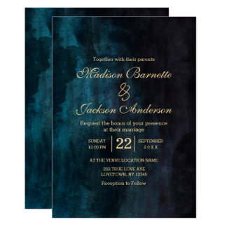 Faire-part de mariage turquoise d'or d'aquarelle