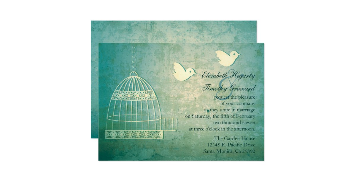 faire part de mariage turquoise magnifique de cage zazzle. Black Bedroom Furniture Sets. Home Design Ideas