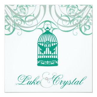 Faire-part de mariage vert avec du charme de cage
