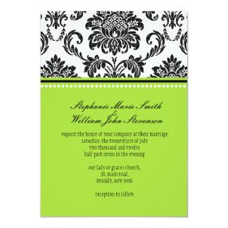 Faire-part de mariage vert de damassé