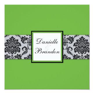 Faire-part de mariage vert de monogramme de carton d'invitation  13,33 cm