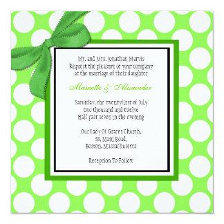 Faire-part de mariage vert de point de polka carton d'invitation  13,33 cm