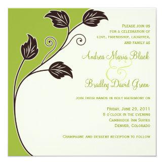 Faire-part de mariage vert et en ivoire de ressort