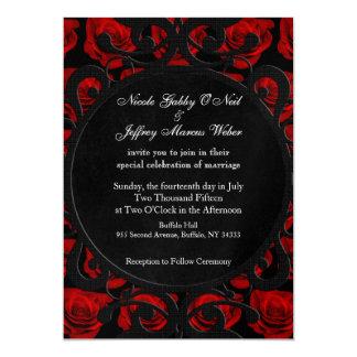 Faire-part de mariage victorien gothique de roses
