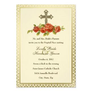 Faire-part de mariage vintage croisé catholique de