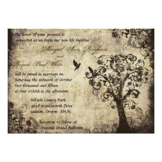 Faire-part de mariage vintage d'arbre avec le text