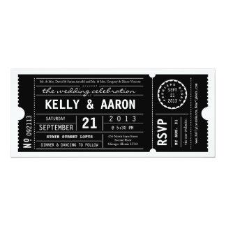 Faire-part de mariage vintage de billet de théâtre carton d'invitation  10,16 cm x 23,49 cm