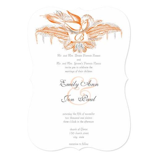 Faire-part de mariage vintage de corail et gris carton d'invitation  12,7 cm x 17,78 cm