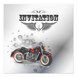 Faire-part de mariage vintage de motard de moto