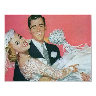 Faire-part de mariage vintage de nouveaux mariés