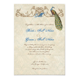 Faire-part de mariage vintage de paon et gravure à