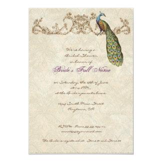 Faire-part de mariage vintage de paon et gravure à carton d'invitation  12,7 cm x 17,78 cm