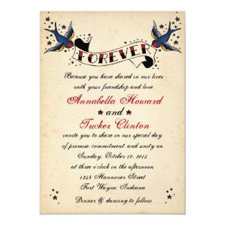 Faire-part de mariage vintage de tatouage de carton d'invitation  12,7 cm x 17,78 cm