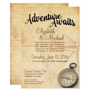 Faire-part de mariage vintage de voyage d'aventure