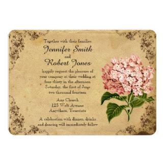 Faire-part de mariage vintage d'hortensia carton d'invitation  12,7 cm x 17,78 cm