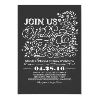 Faire-part de mariage vintage floral de tableau carton d'invitation  12,7 cm x 17,78 cm
