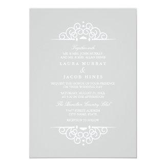 Faire-part de mariage vintage gris et blanc de carton d'invitation  12,7 cm x 17,78 cm