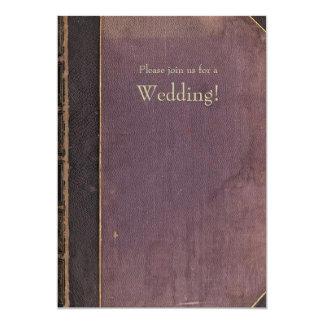 Faire-part de mariage vintage pourpre de livre