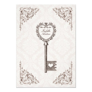 Faire-part de mariage vintage #V1 de clé d'amour