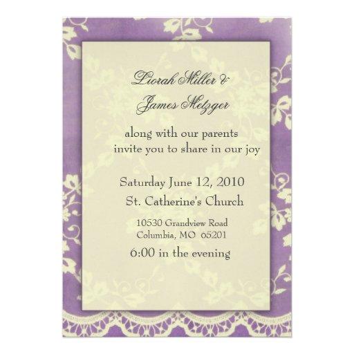 faire part de mariage violet de dentelle carton d 39 invitation 12 7 cm x 17. Black Bedroom Furniture Sets. Home Design Ideas