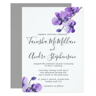 Faire-part de mariage violet d'orchidées