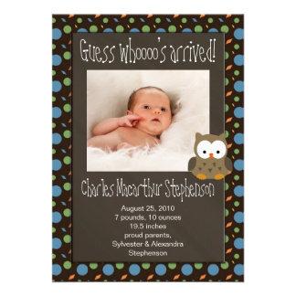 Faire-part de naissance arrivé du bébé de Whoooo d