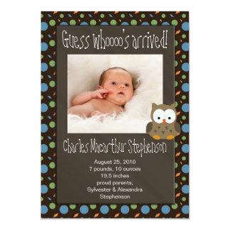 Faire-part de naissance arrivé du bébé de Whoooo Carton D'invitation 12,7 Cm X 17,78 Cm