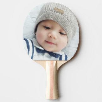 Faire-part de naissance avec la photo nouveau-née raquette de ping pong