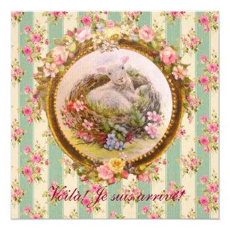 Faire part de naissance - Bébé agneau, nid, fleurs Carton D'invitation 13,33 Cm
