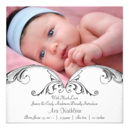 Faire-part de naissance blanc argenté de photo de