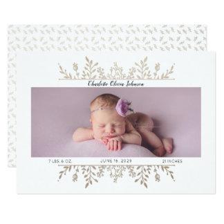 Faire-part de naissance blanc de photo d'or rose