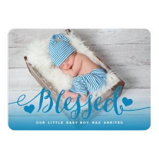 Faire-part de naissance bleu béni de bébé de |