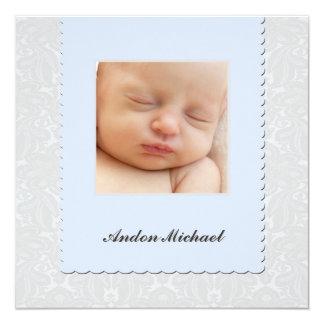 Faire-part de naissance bleu de damassé