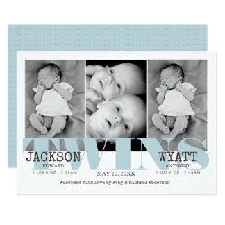 Faire-part de naissance bleu de jumeaux de bébés