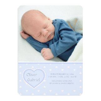 Faire-part de naissance bleu de photo d'amoureux