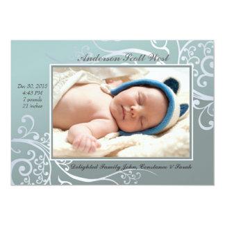 Faire-part de naissance bleu de photo de douceur