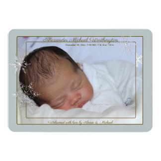 Faire-part de naissance bleu doux de photo de