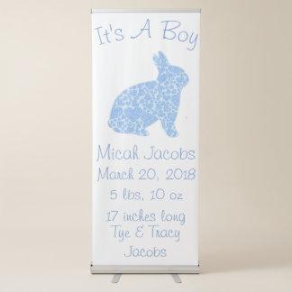 Faire-part de naissance bleu fait sur commande de banderole rétractable