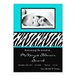 faire-part de naissance bleu noir de PHOTO du Carton D'invitation 12,7 Cm X 17,78 Cm