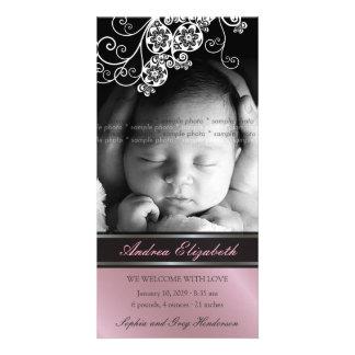 Faire-part de naissance chic de bébé de fleur photocarte personnalisée