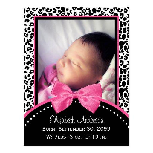 Faire-part de naissance chic de photo de bébé d'em cartes postales